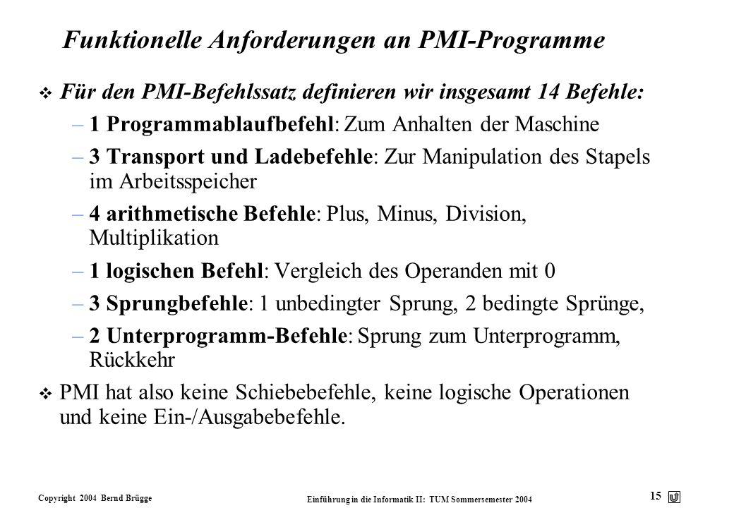 Copyright 2004 Bernd Brügge Einführung in die Informatik II: TUM Sommersemester 2004 15 Funktionelle Anforderungen an PMI-Programme v Für den PMI-Befe