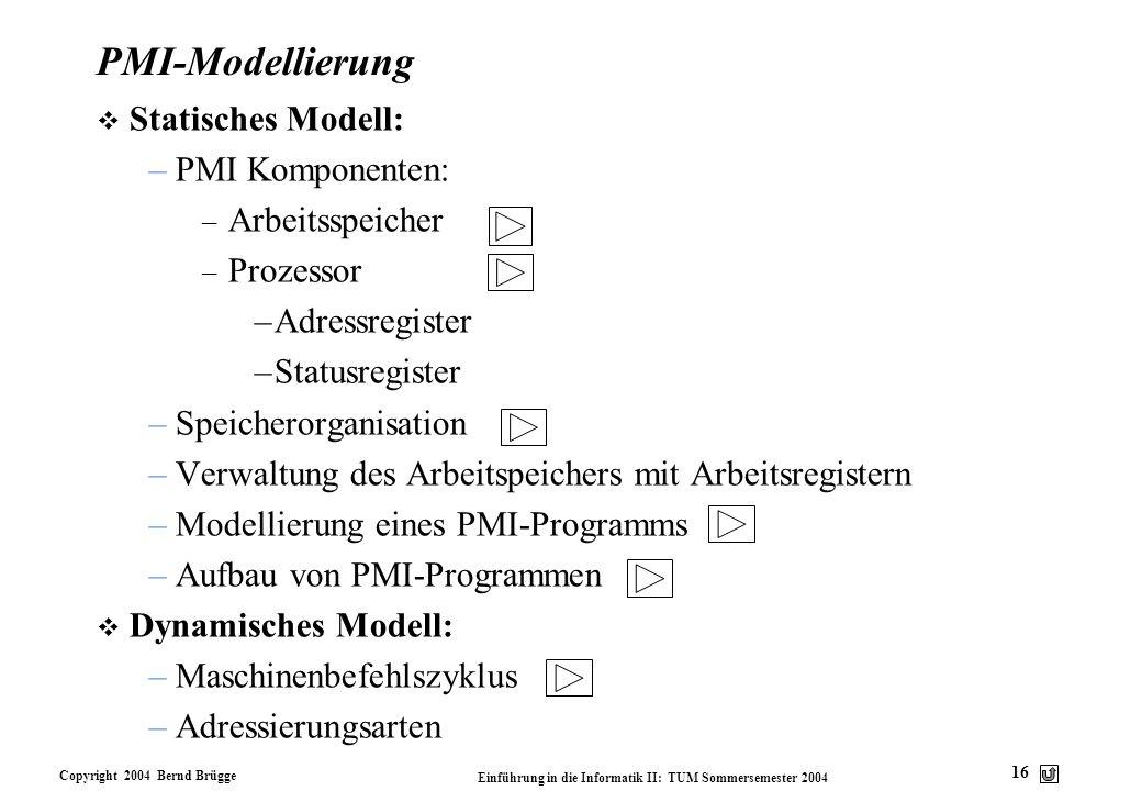 Copyright 2004 Bernd Brügge Einführung in die Informatik II: TUM Sommersemester 2004 16 PMI-Modellierung v Statisches Modell: –PMI Komponenten: – Arbe