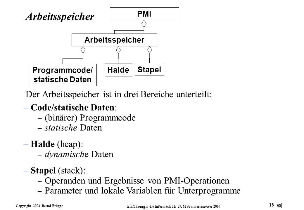 Copyright 2004 Bernd Brügge Einführung in die Informatik II: TUM Sommersemester 2004 18 Arbeitsspeicher Der Arbeitsspeicher ist in drei Bereiche unter