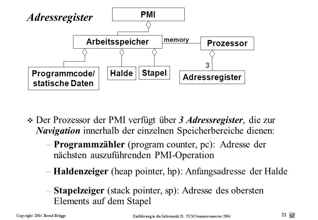Copyright 2004 Bernd Brügge Einführung in die Informatik II: TUM Sommersemester 2004 21 Adressregister v Der Prozessor der PMI verfügt über 3 Adressre