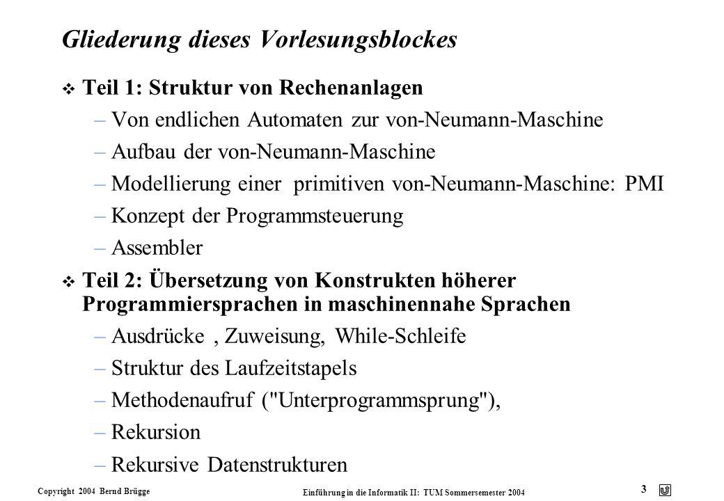 Copyright 2004 Bernd Brügge Einführung in die Informatik II: TUM Sommersemester 2004 3 Gliederung dieses Vorlesungsblockes v Teil 1: Struktur von Rech