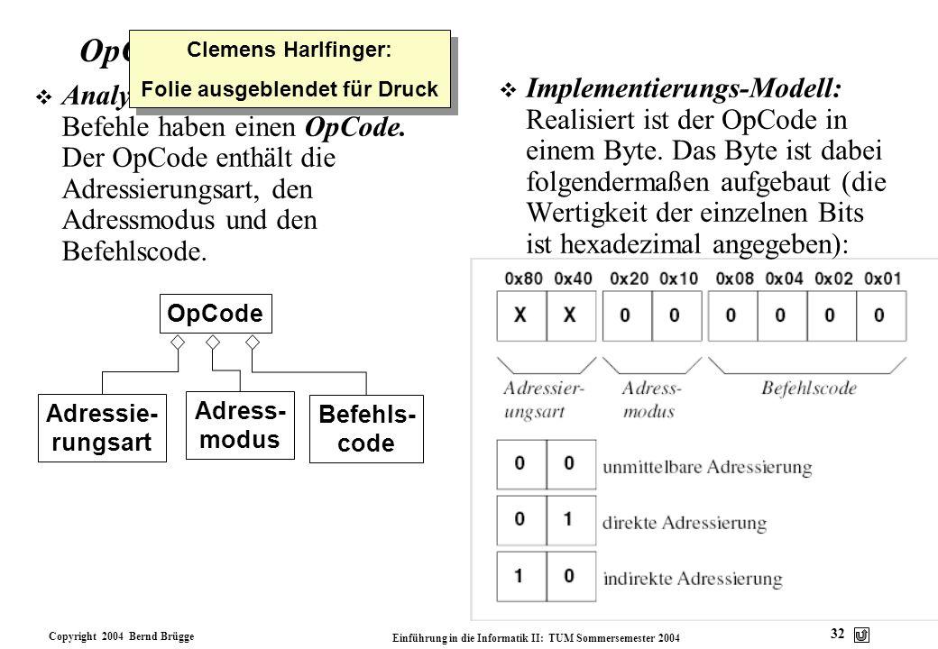 Copyright 2004 Bernd Brügge Einführung in die Informatik II: TUM Sommersemester 2004 32 OpCode v Analyse-Modell: Alle PMI- Befehle haben einen OpCode.