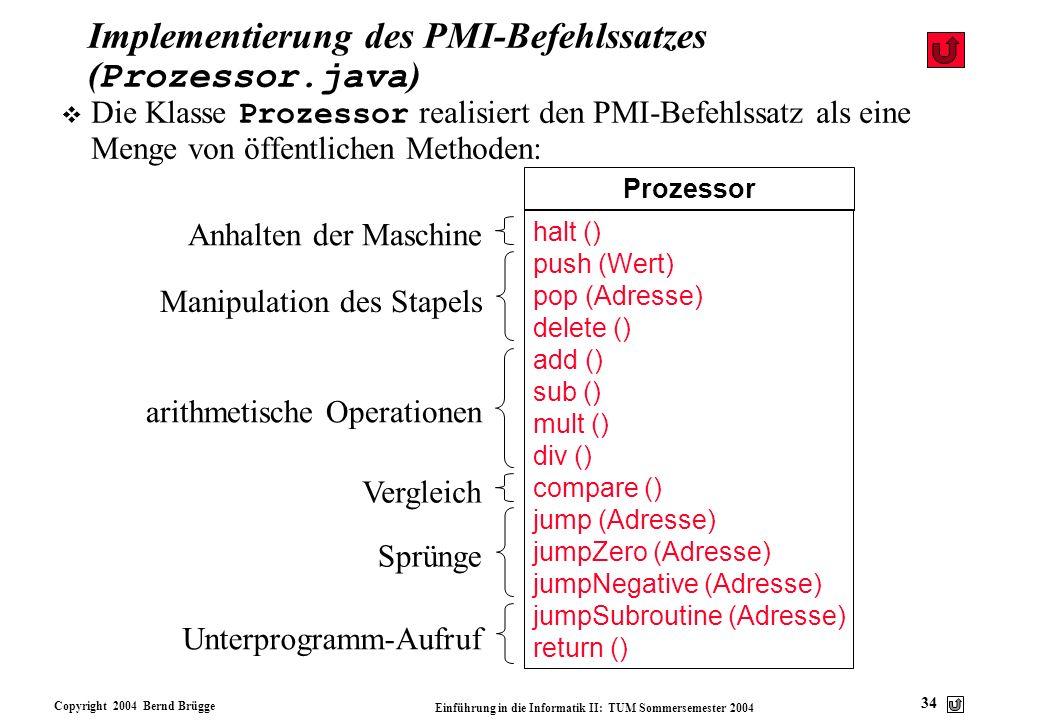 Copyright 2004 Bernd Brügge Einführung in die Informatik II: TUM Sommersemester 2004 34 Implementierung des PMI-Befehlssatzes ( Prozessor.java ) Proze