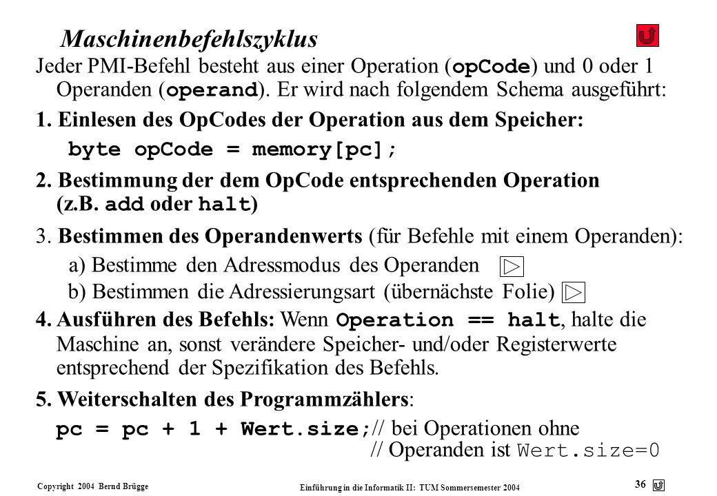 Copyright 2004 Bernd Brügge Einführung in die Informatik II: TUM Sommersemester 2004 36 Maschinenbefehlszyklus Jeder PMI-Befehl besteht aus einer Oper