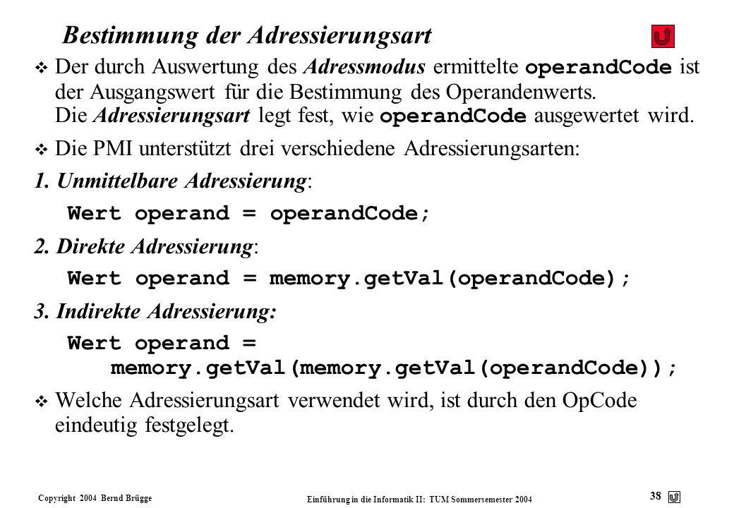 Copyright 2004 Bernd Brügge Einführung in die Informatik II: TUM Sommersemester 2004 38 Bestimmung der Adressierungsart Der durch Auswertung des Adres