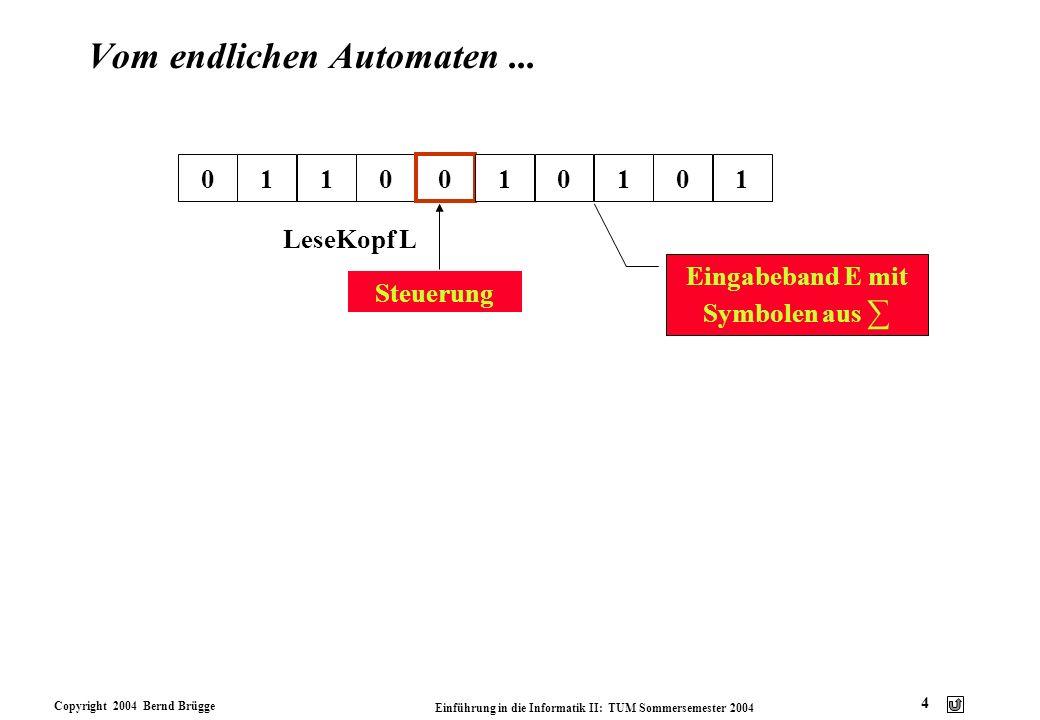 Copyright 2004 Bernd Brügge Einführung in die Informatik II: TUM Sommersemester 2004 4 Vom endlichen Automaten... 0110 LeseKopf L 0 10101 Eingabeband
