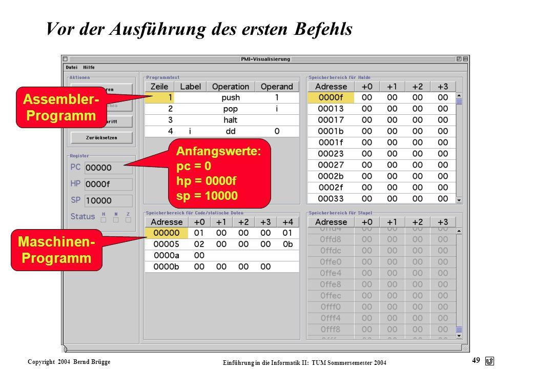 Copyright 2004 Bernd Brügge Einführung in die Informatik II: TUM Sommersemester 2004 49 Vor der Ausführung des ersten Befehls Assembler- Programm Masc
