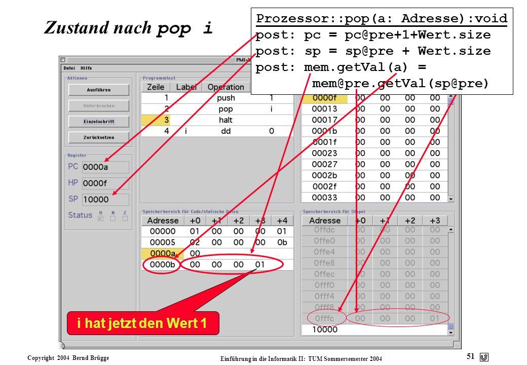 Copyright 2004 Bernd Brügge Einführung in die Informatik II: TUM Sommersemester 2004 51 Zustand nach pop i Prozessor::pop(a: Adresse):void post: pc =