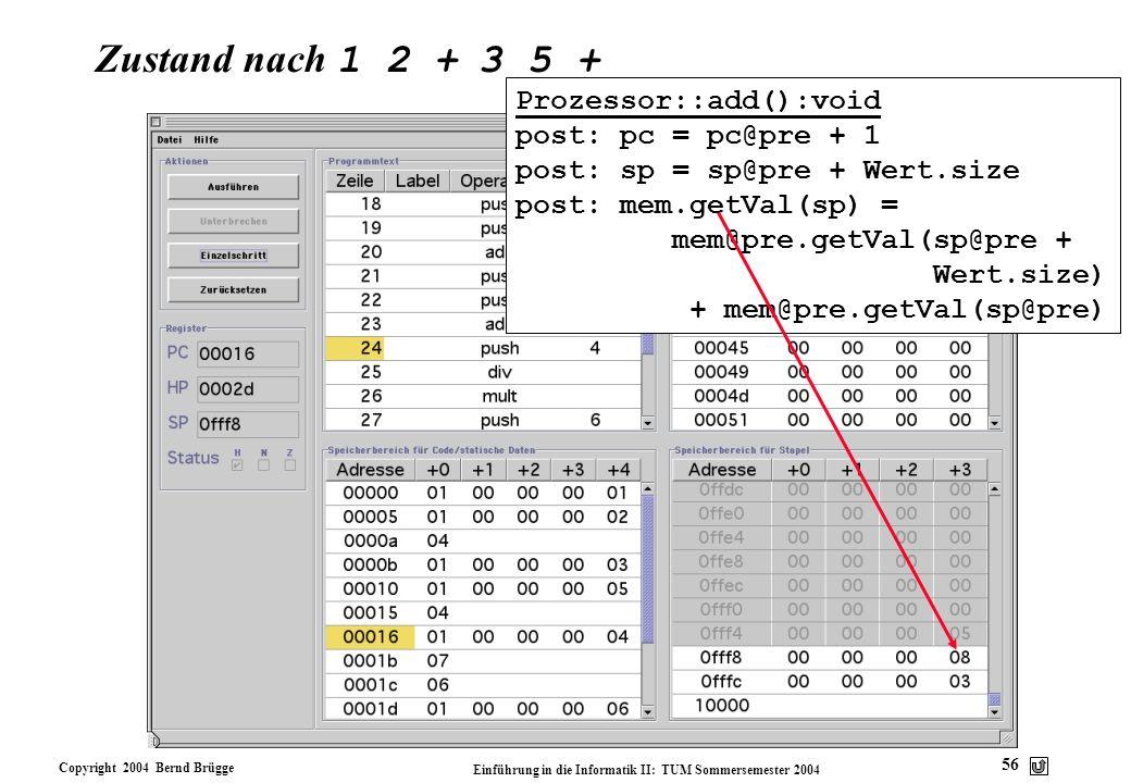 Copyright 2004 Bernd Brügge Einführung in die Informatik II: TUM Sommersemester 2004 56 Zustand nach 1 2 + 3 5 + Prozessor::add():void post: pc = pc@p