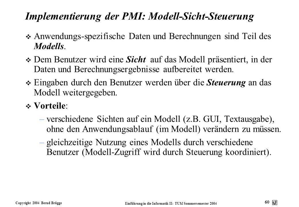 Copyright 2004 Bernd Brügge Einführung in die Informatik II: TUM Sommersemester 2004 60 Implementierung der PMI: Modell-Sicht-Steuerung v Anwendungs-s