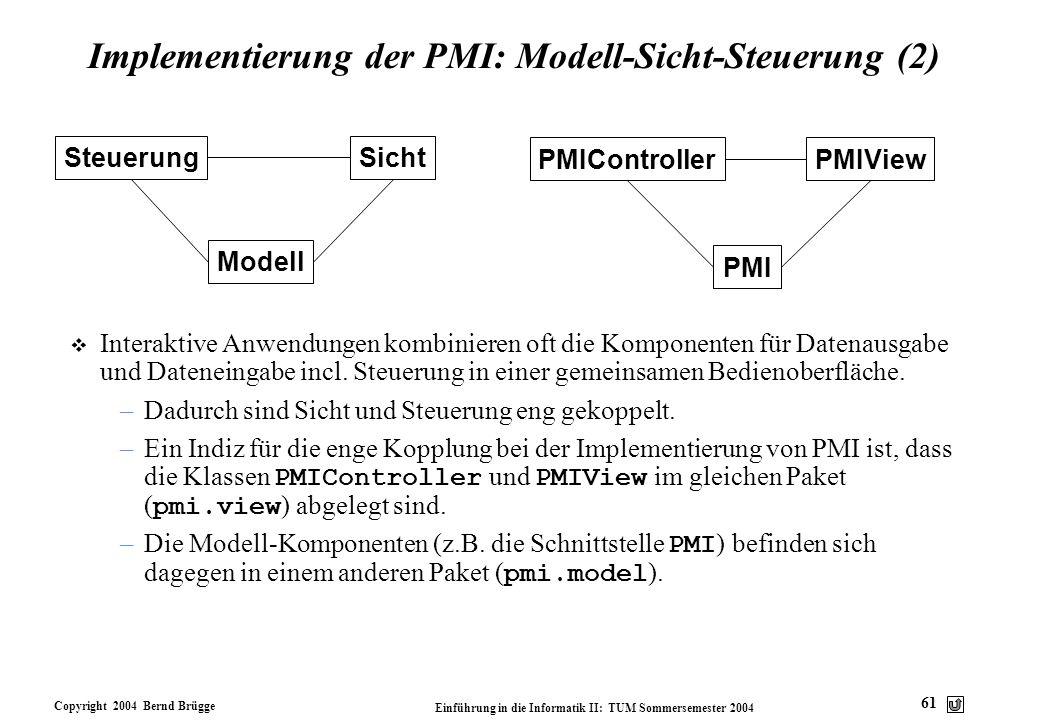Copyright 2004 Bernd Brügge Einführung in die Informatik II: TUM Sommersemester 2004 61 Implementierung der PMI: Modell-Sicht-Steuerung (2) v Interakt