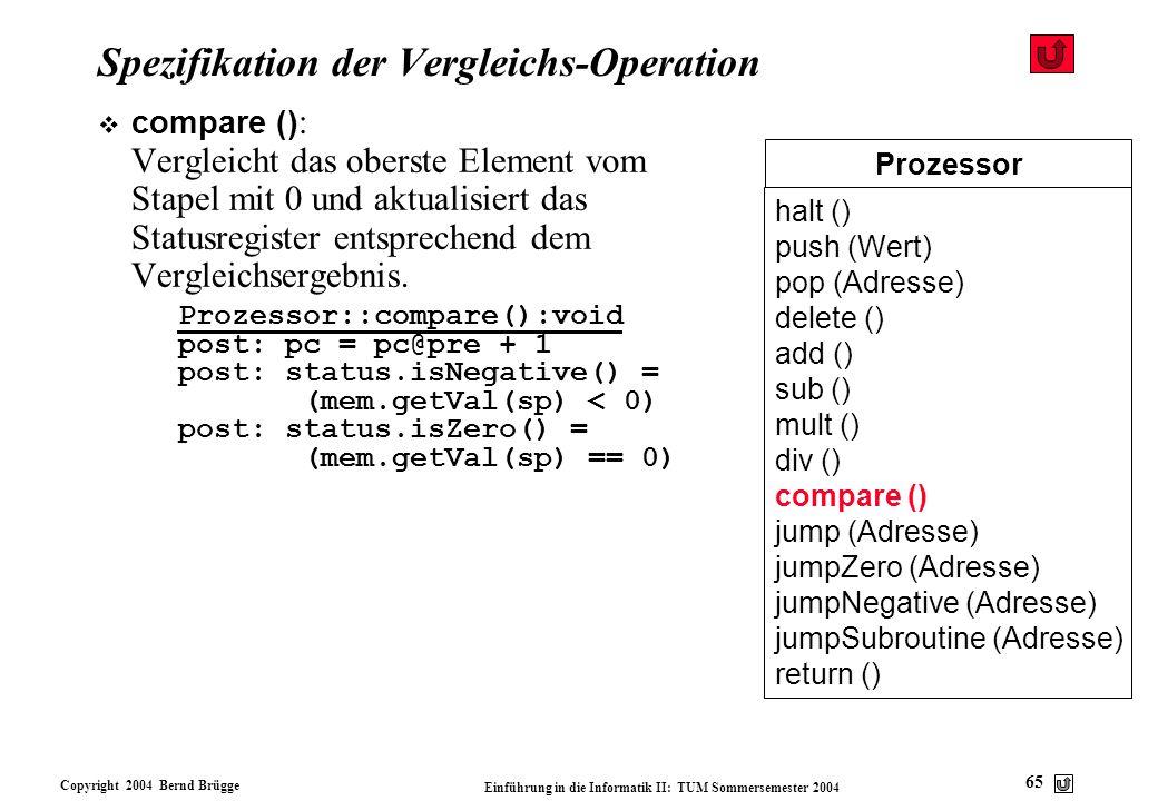 Copyright 2004 Bernd Brügge Einführung in die Informatik II: TUM Sommersemester 2004 65 Prozessor halt () push (Wert) pop (Adresse) delete () add () s