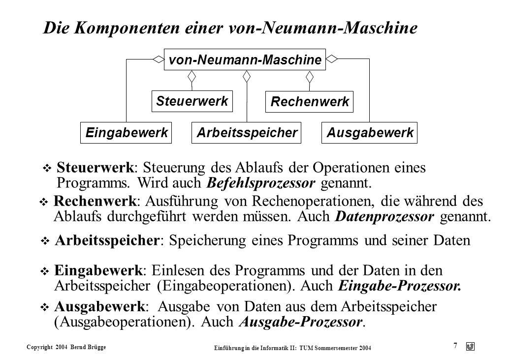 Copyright 2004 Bernd Brügge Einführung in die Informatik II: TUM Sommersemester 2004 7 Die Komponenten einer von-Neumann-Maschine von-Neumann-Maschine
