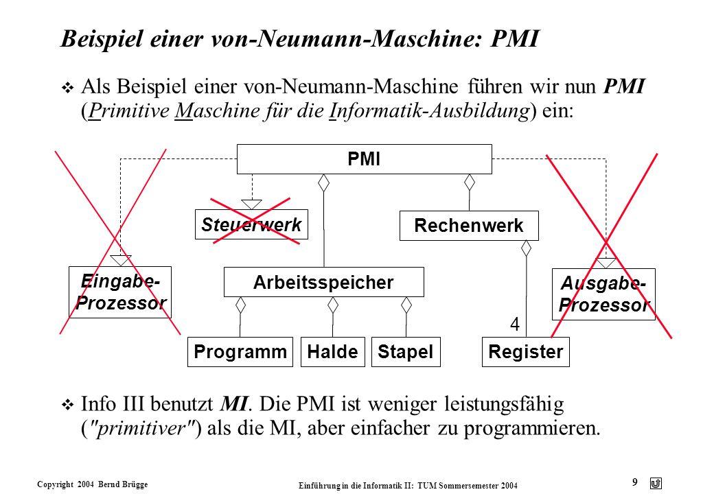 Copyright 2004 Bernd Brügge Einführung in die Informatik II: TUM Sommersemester 2004 9 Beispiel einer von-Neumann-Maschine: PMI v Als Beispiel einer v