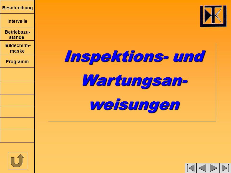 Beschreibung Intervalle Betriebszu- stände Bildschirm- maske Programm Inspektions- und Wartungsan-weisungen Wartungsan-weisungen