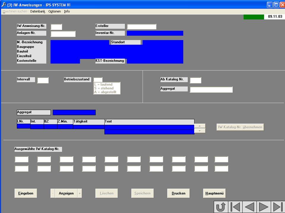 Beschreibung Intervalle Betriebszu- stände Bildschirm- maske Programm