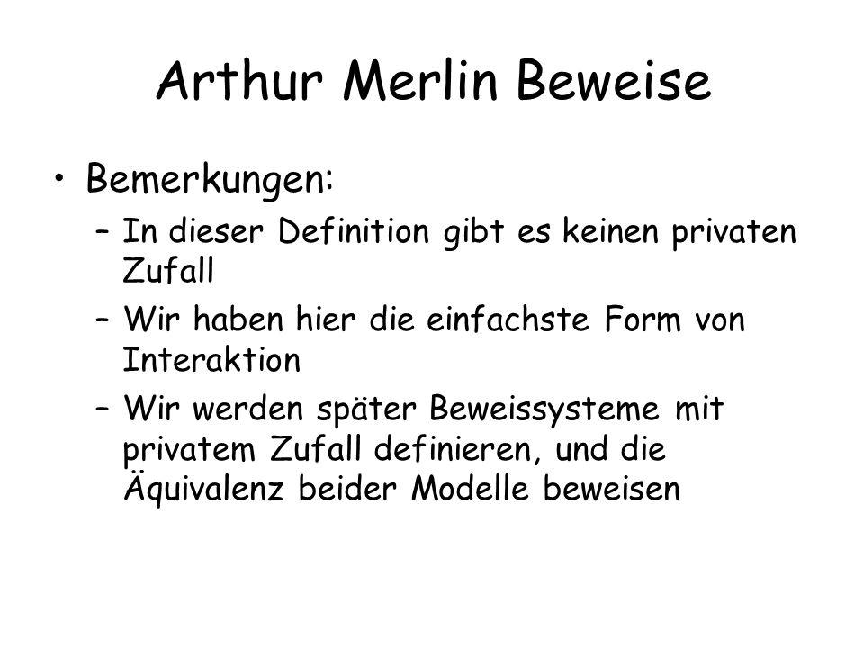 Arthur Merlin Beweise Bemerkungen: –In dieser Definition gibt es keinen privaten Zufall –Wir haben hier die einfachste Form von Interaktion –Wir werden später Beweissysteme mit privatem Zufall definieren, und die Äquivalenz beider Modelle beweisen