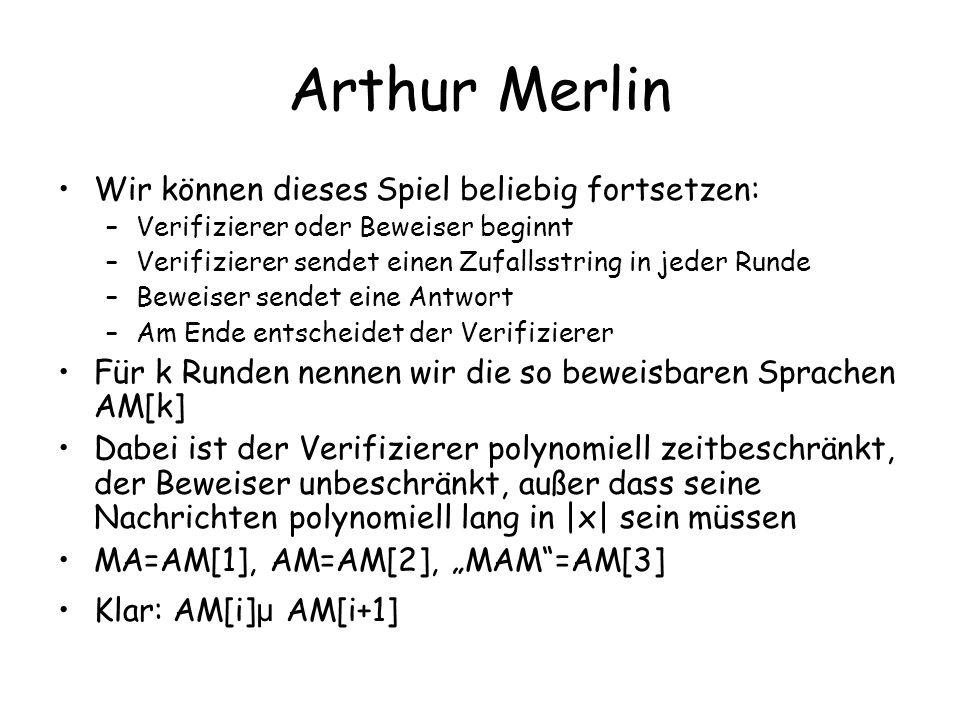 Arthur Merlin Wir können dieses Spiel beliebig fortsetzen: –Verifizierer oder Beweiser beginnt –Verifizierer sendet einen Zufallsstring in jeder Runde –Beweiser sendet eine Antwort –Am Ende entscheidet der Verifizierer Für k Runden nennen wir die so beweisbaren Sprachen AM[k] Dabei ist der Verifizierer polynomiell zeitbeschränkt, der Beweiser unbeschränkt, außer dass seine Nachrichten polynomiell lang in |x| sein müssen MA=AM[1], AM=AM[2], MAM=AM[3] Klar: AM[i] µ AM[i+1]
