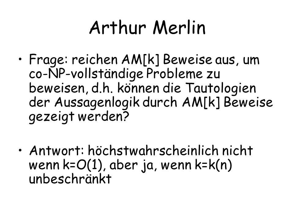 Arthur Merlin Frage: reichen AM[k] Beweise aus, um co-NP-vollständige Probleme zu beweisen, d.h.