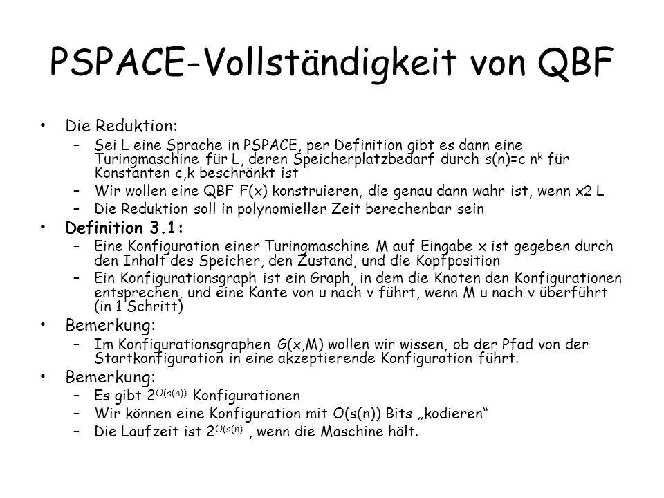 PSPACE-Vollständigkeit von QBF Beobachtung: –Es gibt eine KNF der Länge O(s(n)), deren Variablen der Kodierung von 2 Konfigurationen c 1,c 2 entsprechen, und die wahr ist, wenn c 2 die Nachfolgekonfiguration von c 1 ist Beweis: Übung