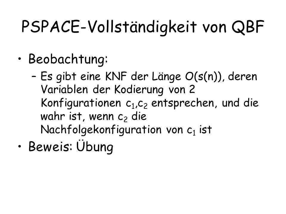 PSPACE-Vollständigkeit von QBF Wir wollen nun eine QBF der Länge O(s(n) 2 ) konstruieren, die genau dann wahr ist, wenn es einen Pfad von der Startkonfiguration zu einer akzeptierenden Konfiguration gibt OBdA gibt es nur eine akzeptierende Konfiguration Wir verwenden Formeln G i (c 1,c 2 ), die dann wahr sind, wenn Konfiguration c 1 zu c 2 in · 2 i Schritten führt (c i besteht aus O(s(n)) Variablen) G 0 ist unsere KNF G m ist die Zielformel, für m=O(s(n))