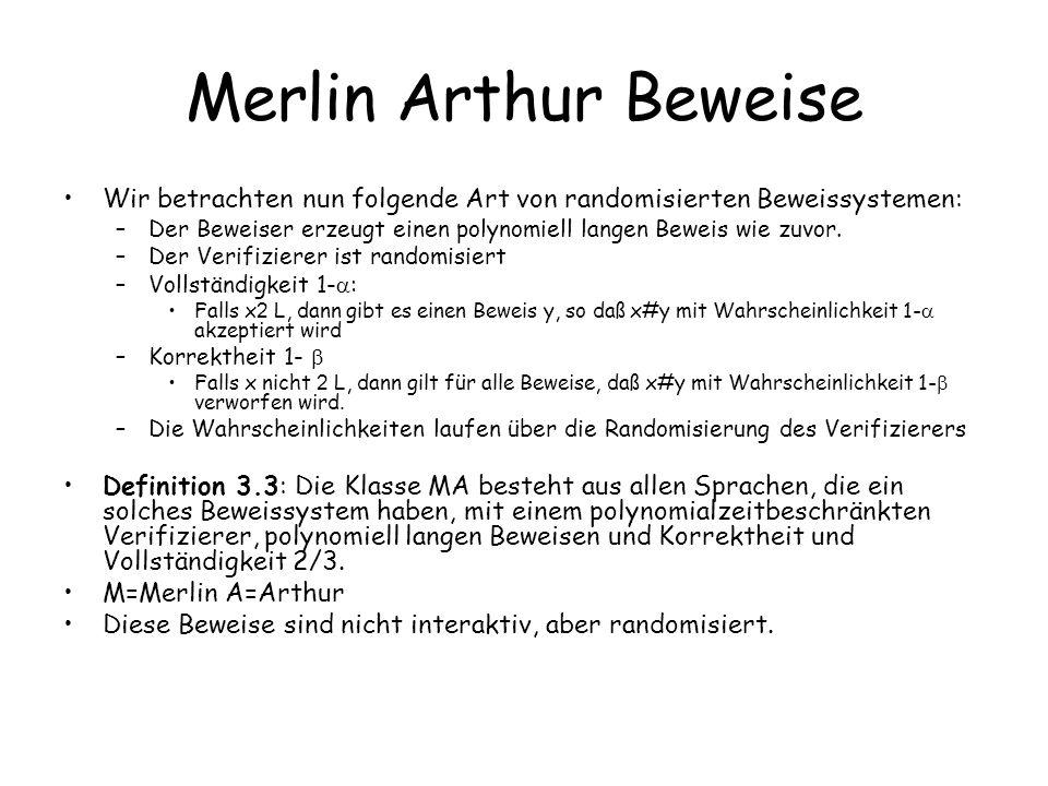 Merlin Arthur Beweise Wir betrachten nun folgende Art von randomisierten Beweissystemen: –Der Beweiser erzeugt einen polynomiell langen Beweis wie zuvor.
