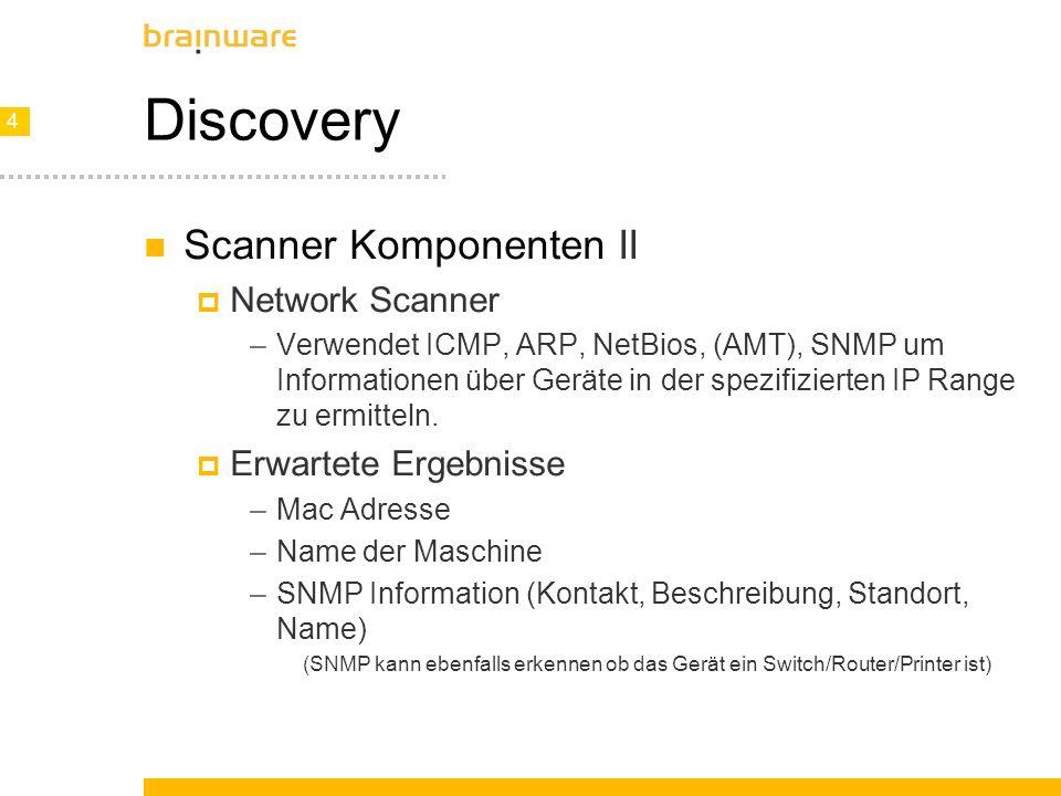 4 4 Discovery Scanner Komponenten II Network Scanner –Verwendet ICMP, ARP, NetBios, (AMT), SNMP um Informationen über Geräte in der spezifizierten IP