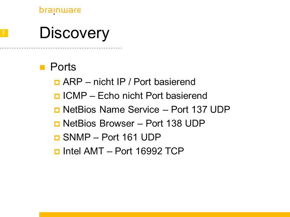 8 8 Discovery Mögliche Nachteile Router Konfiguration (Ports) TTL des Netzwerkes Latenz Traffic Timeout Alerting Firewall