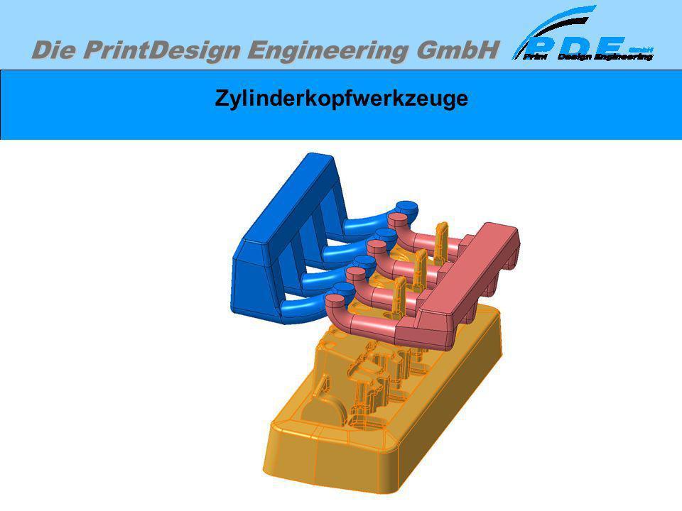 Die PrintDesign Engineering GmbH Zylinderkopfwerkzeuge Die gleichen Sandkerne vom vorherigen Bild, jedoch zur Veranschaulichung aus anderer Perspektiv
