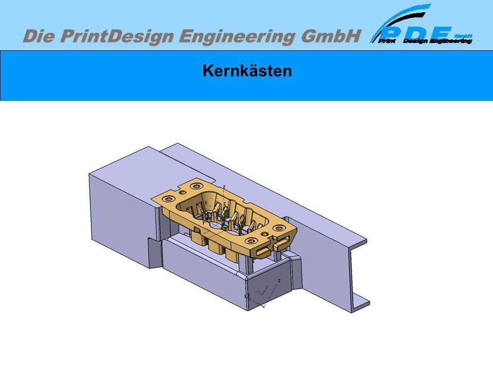Die PrintDesign Engineering GmbH Kernkästen Beispiel für das Herstellwerkzeuges für einen Wassermantelsandkern. Dargestellt ist der Sandkern, das Unte