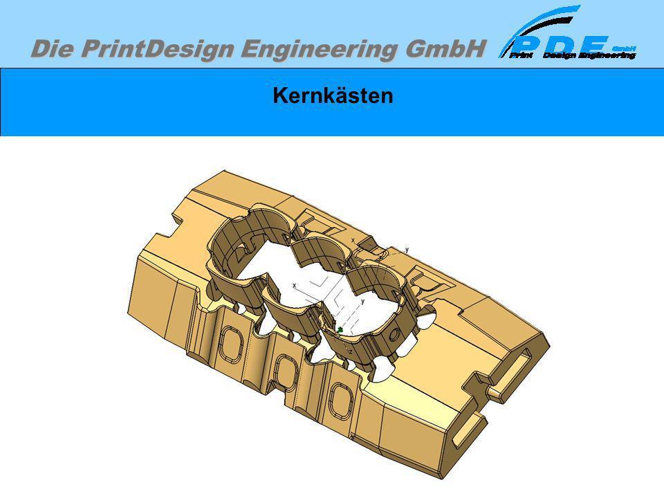Die PrintDesign Engineering GmbH Kernkästen Der Wassermantelkern von unten betrachtet.