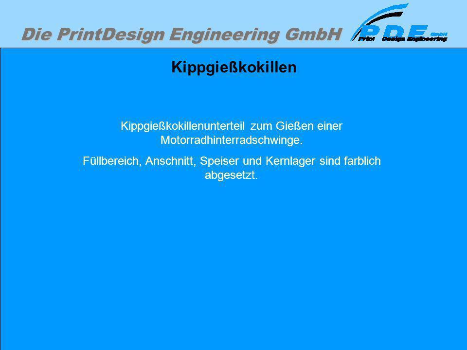 Die PrintDesign Engineering GmbH Kippgießkokillen Kippgießkokillenunterteil zum Gießen einer Motorradhinterradschwinge. Füllbereich, Anschnitt, Speise