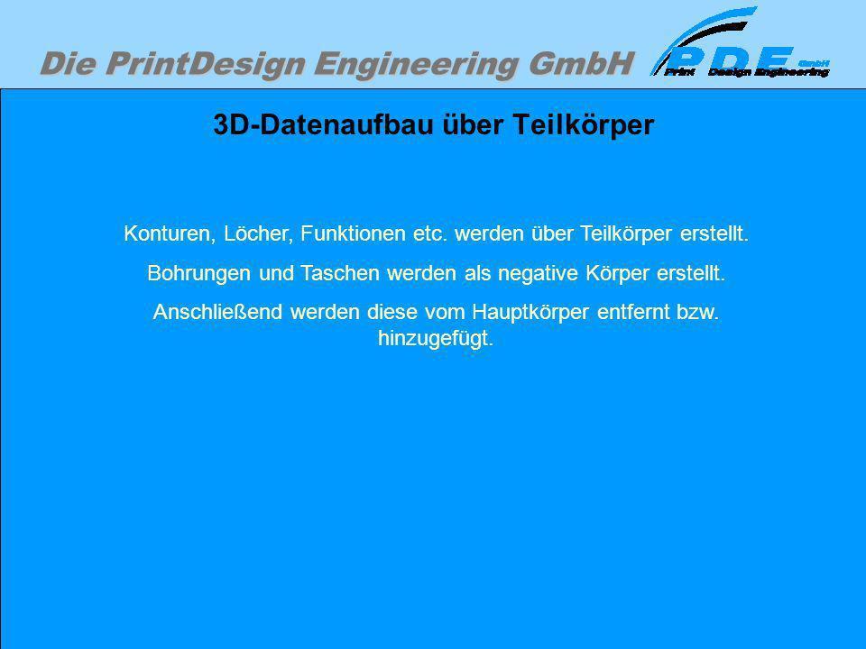 Die PrintDesign Engineering GmbH 3D-Datenaufbau über Teilkörper Konturen, Löcher, Funktionen etc. werden über Teilkörper erstellt. Bohrungen und Tasch