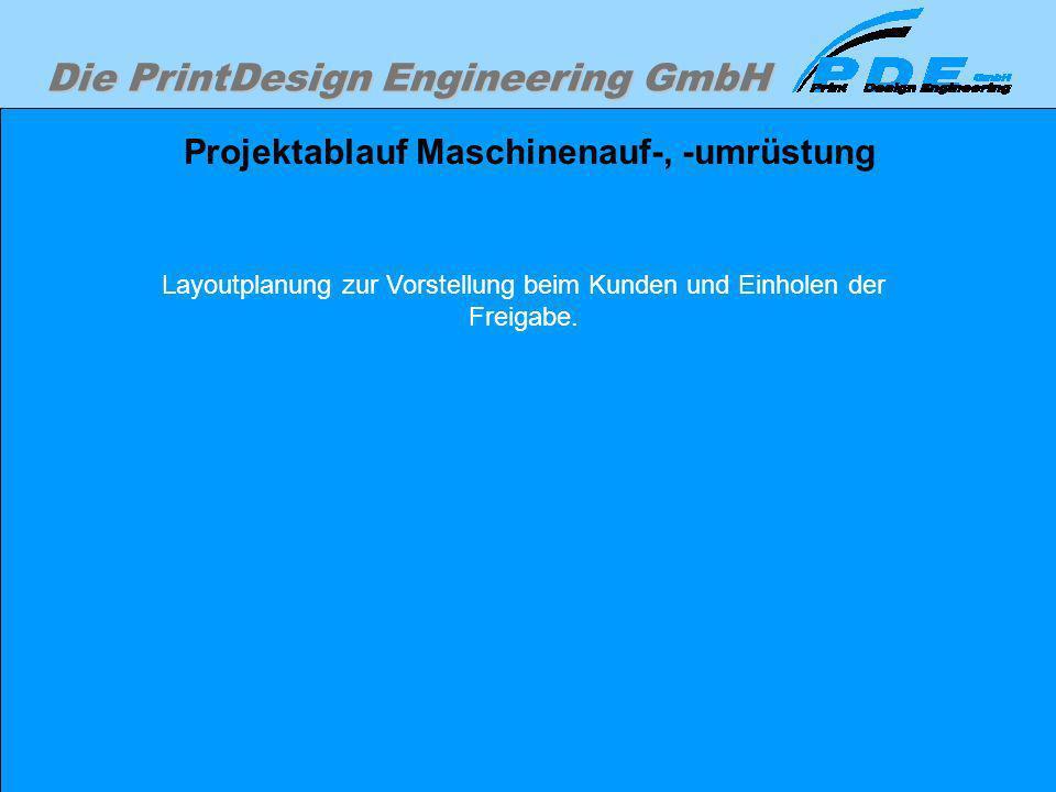 Die PrintDesign Engineering GmbH Projektablauf Maschinenauf-, -umrüstung Layoutplanung zur Vorstellung beim Kunden und Einholen der Freigabe.
