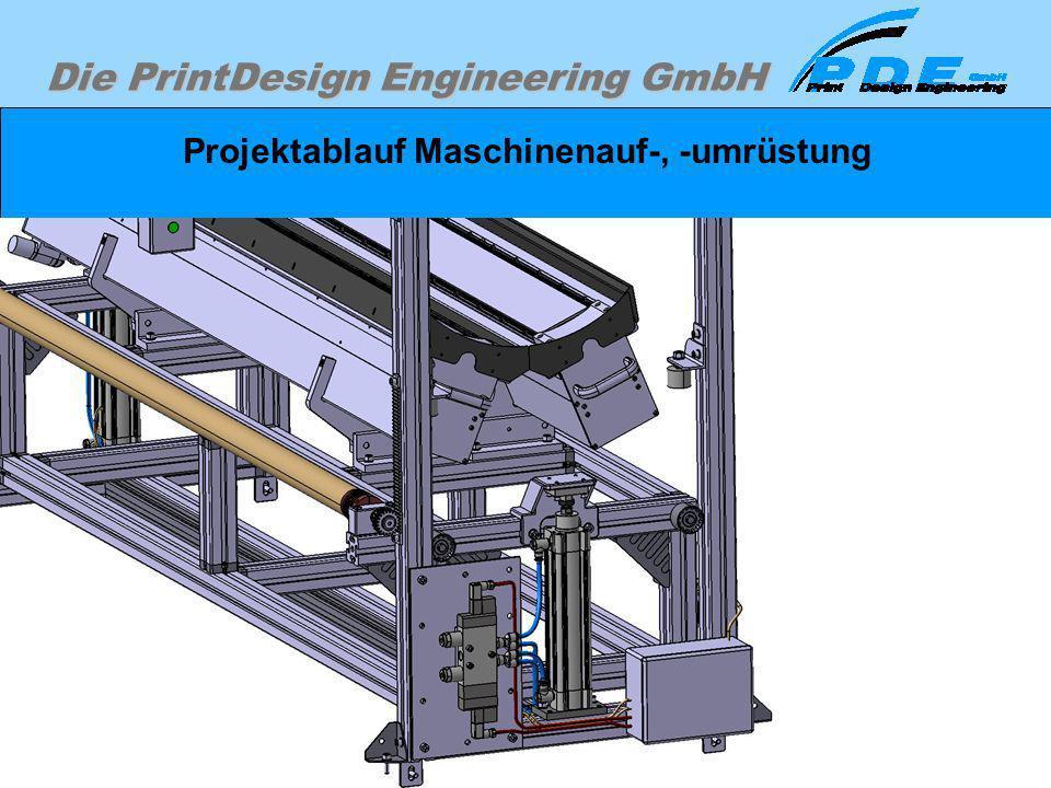 Die PrintDesign Engineering GmbH Projektablauf Maschinenauf-, -umrüstung Je nach Notwendigkeit und Wunsch des Kunden wird die Detailierung entsprechen