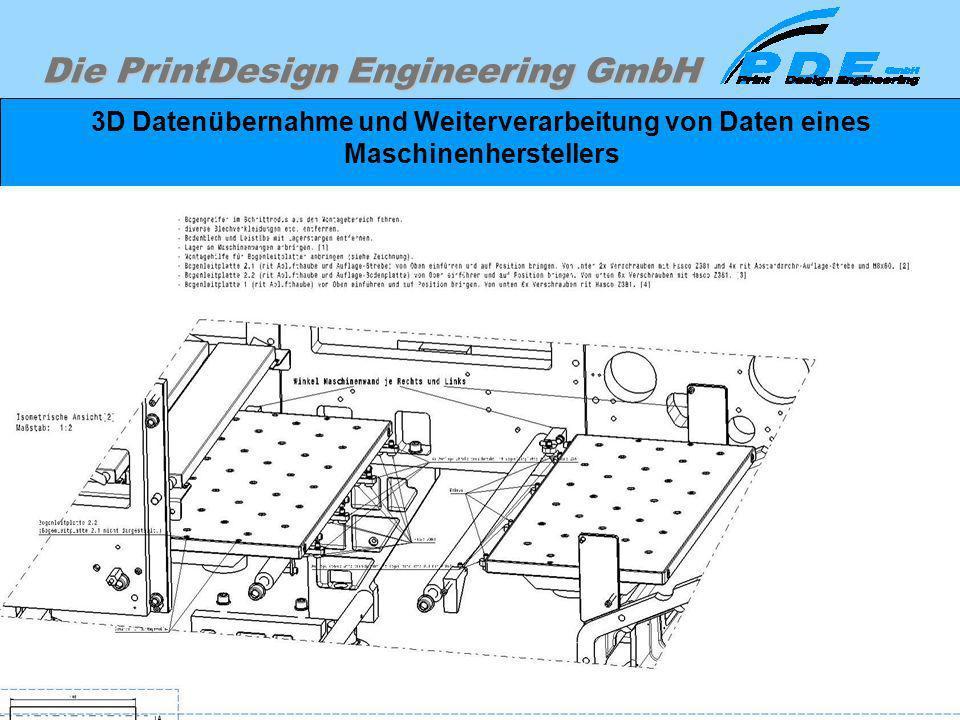 Die PrintDesign Engineering GmbH 3D Datenübernahme und Weiterverarbeitung von Daten eines Maschinenherstellers Im folgenden Beispiel ist eine 3D Monta