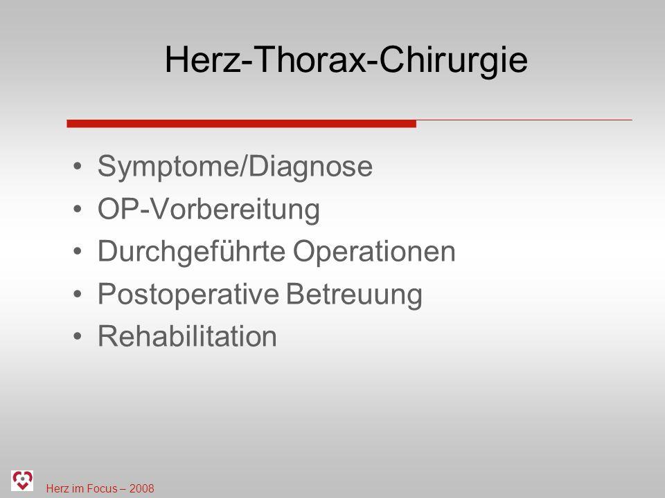Herz im Focus – 2008 Postoperative Betreuung Intensivstation (Mittwoch und Donnerstag) 1.-2.