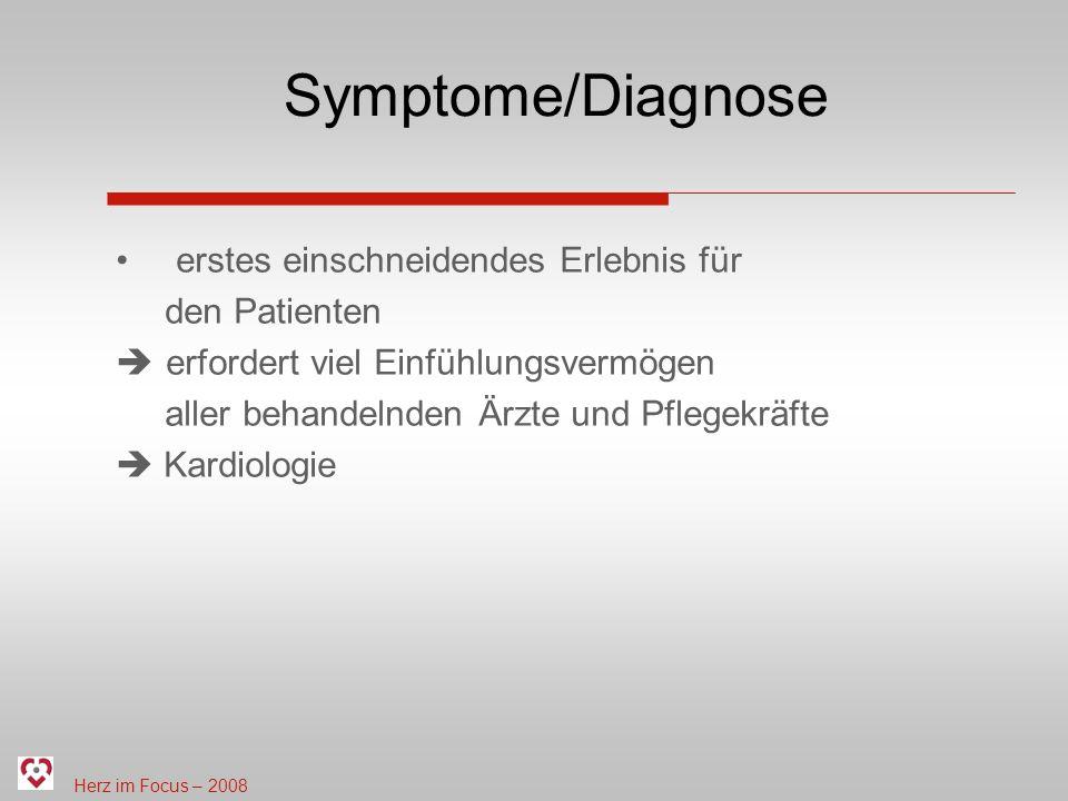 Herz im Focus – 2008 Symptome/Diagnose erstes einschneidendes Erlebnis für den Patienten erfordert viel Einfühlungsvermögen aller behandelnden Ärzte und Pflegekräfte Kardiologie