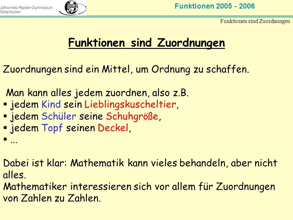 Funktionen 2005 - 2006 Mathematik Jahrgangsstufe 11 Funktionen sind Zuordnungen Zuordnungen sind ein Mittel, um Ordnung zu schaffen. Man kann alles je