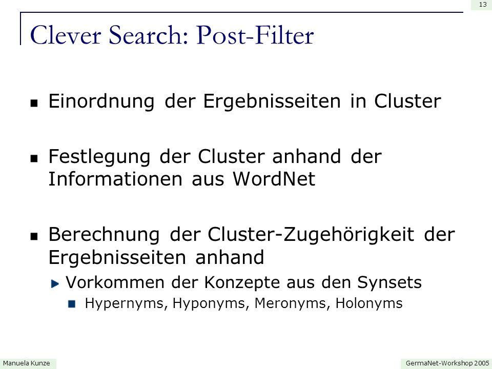 GermaNet-Workshop 2005Manuela Kunze 13 Clever Search: Post-Filter Einordnung der Ergebnisseiten in Cluster Festlegung der Cluster anhand der Informationen aus WordNet Berechnung der Cluster-Zugehörigkeit der Ergebnisseiten anhand Vorkommen der Konzepte aus den Synsets Hypernyms, Hyponyms, Meronyms, Holonyms