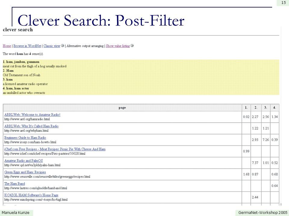 GermaNet-Workshop 2005Manuela Kunze 15 Clever Search: Post-Filter