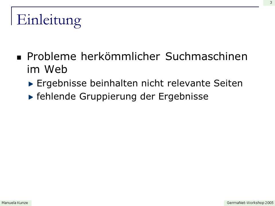 GermaNet-Workshop 2005Manuela Kunze 4 Intelligente Suchmaschinen Vivísimo (http://vivisimo.com )http://vivisimo.com Clusty (http://clusty.com)http://clusty.com basierend auf textuelle und semantische Ähnlichkeit (Heuristiken)