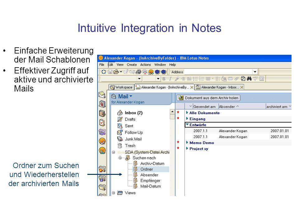 Intuitive Integration in Notes Einfache Erweiterung der Mail Schablonen Effektiver Zugriff auf aktive und archivierte Mails Ordner zum Suchen und Wiederherstellen der archivierten Mails