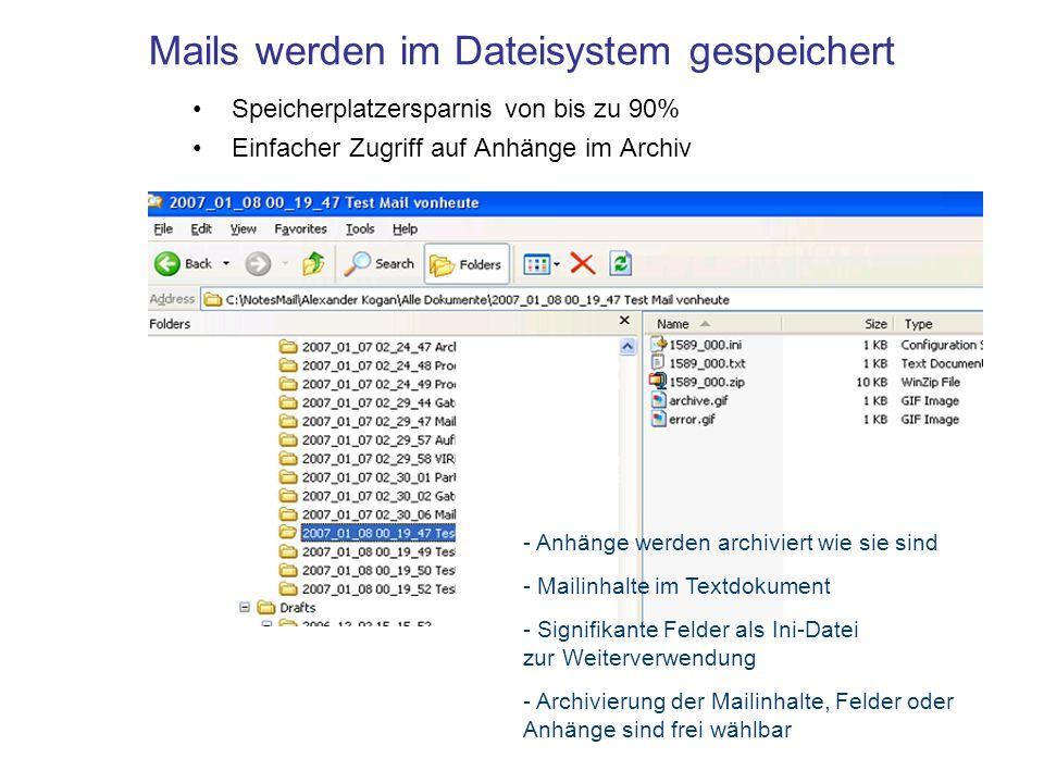Mails werden im Dateisystem gespeichert Speicherplatzersparnis von bis zu 90% Einfacher Zugriff auf Anhänge im Archiv - Anhänge werden archiviert wie sie sind - Mailinhalte im Textdokument - Signifikante Felder als Ini-Datei zur Weiterverwendung - Archivierung der Mailinhalte, Felder oder Anhänge sind frei wählbar