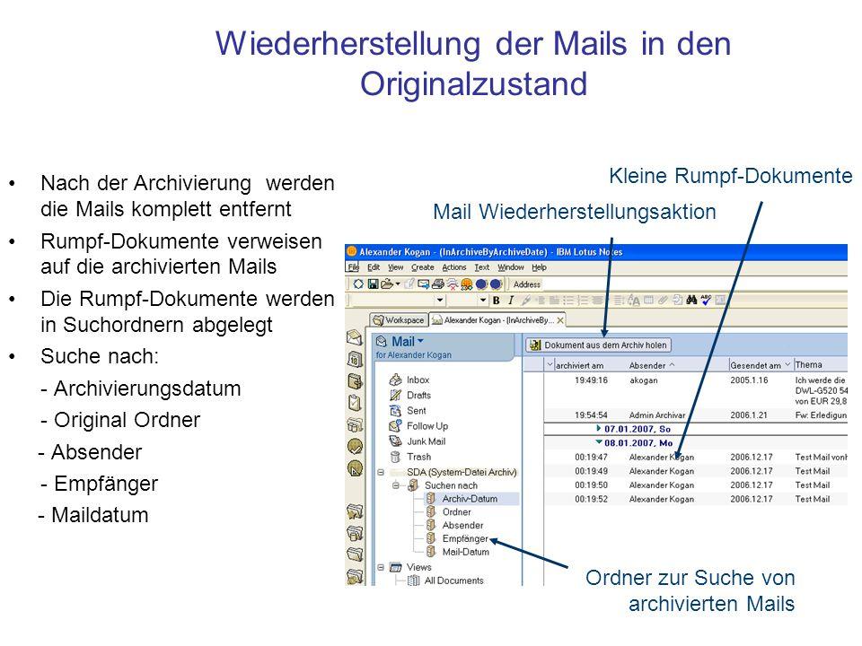 Wiederherstellung der Mails in den Originalzustand Nach der Archivierung werden die Mails komplett entfernt Rumpf-Dokumente verweisen auf die archivierten Mails Die Rumpf-Dokumente werden in Suchordnern abgelegt Suche nach: - Archivierungsdatum - Original Ordner - Absender - Empfänger - Maildatum Kleine Rumpf-Dokumente Mail Wiederherstellungsaktion Ordner zur Suche von archivierten Mails