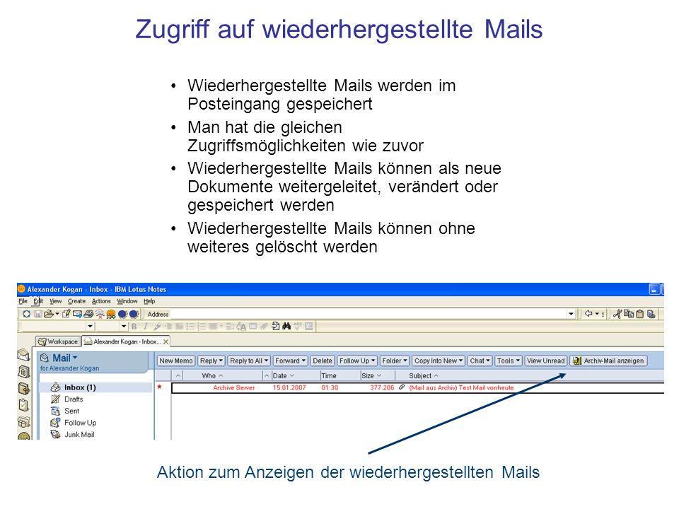 Schnelle Installation beim Kunden Leicht an andere Domino Datenbanken anzupassen (Archivierung von beliebigen Notes DBs möglich) Unabhängig vom Standort des Servers (Archivierung und Wiederherstellung funktionieren per Mail, von überall aus erreichbar) Ablage-Dateisystem ist leicht zu pflegen und zu schützen Eine teure Archivsoftware ist überflüssig Effiziente Auslagerung im Zip-Format Festplattenkapazität ist nicht beschränkt und günstig erweiterbar Sehr schnelles Archivierungs- und Wiederherstellungsverfahren Hohe Effizienz zu geringen Kosten Eckdaten der Mailarchivierung