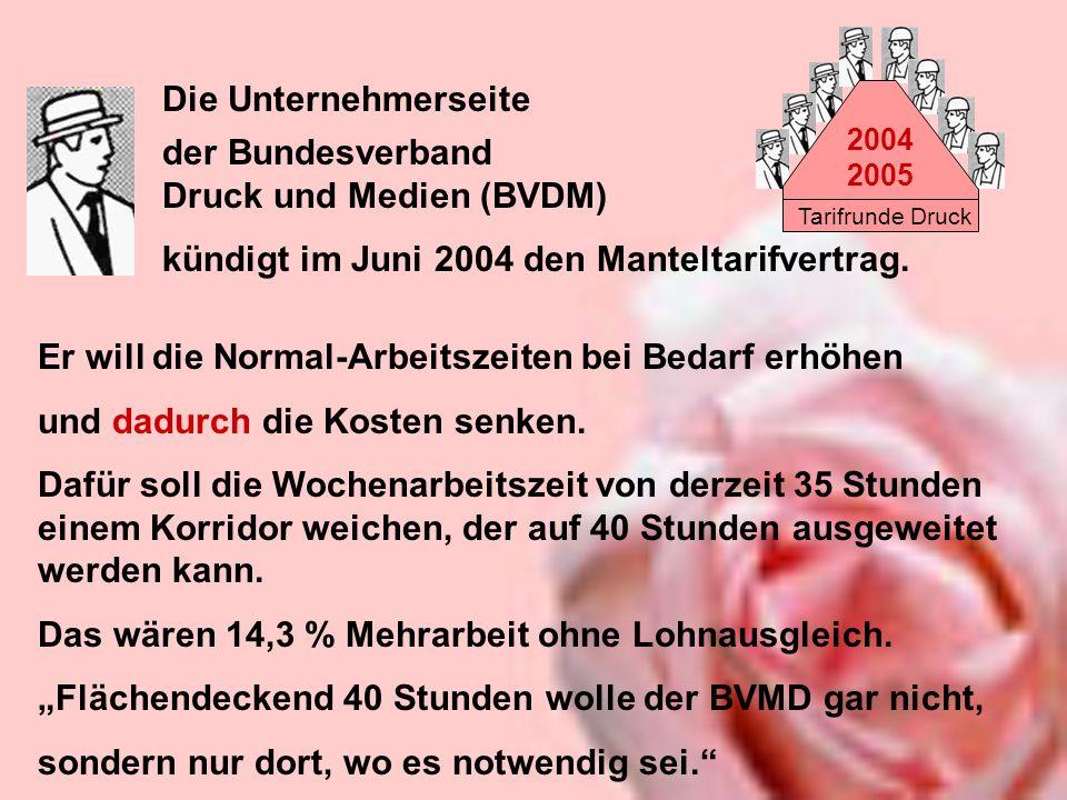 Tarifrunde Druck 2004 2005 der Bundesverband Druck und Medien (BVDM) kündigt im Juni 2004 den Manteltarifvertrag. Die Unternehmerseite Er will die Nor