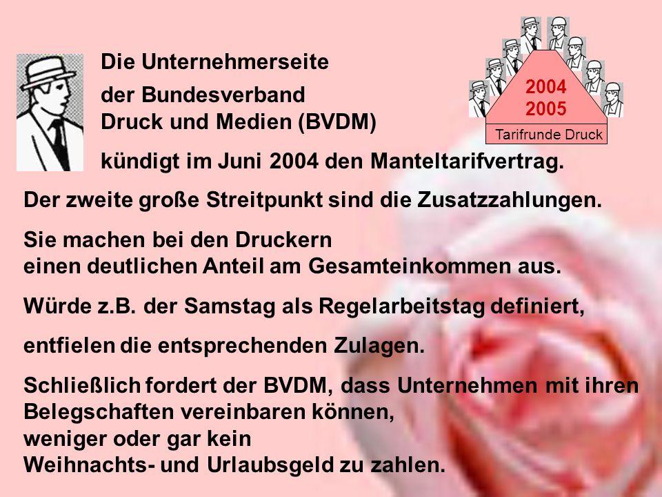 Tarifrunde Druck 2004 2005 der Bundesverband Druck und Medien (BVDM) kündigt im Juni 2004 den Manteltarifvertrag. Die Unternehmerseite Der zweite groß