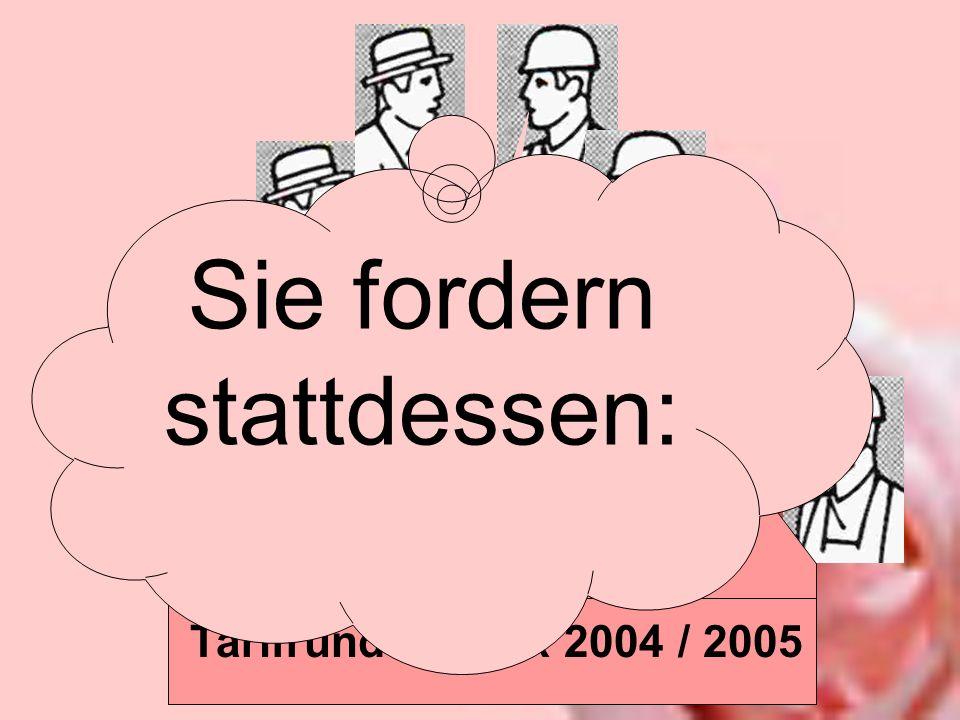 Tarifrunde Druck 2004 / 2005 Bis Ende Mai 2005 sagen die Verdi-Unterhändler dazu: NEIN! Sie fordern stattdessen: