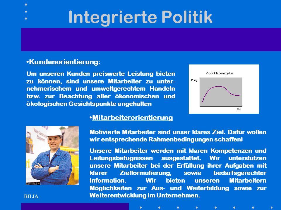 BILIA Integrierte Politik Kundenorientierung: Um unseren Kunden preiswerte Leistung bieten zu können, sind unsere Mitarbeiter zu unter- nehmerischem u